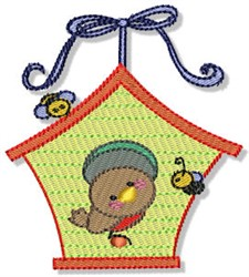 Birdhouse & Bees embroidery design