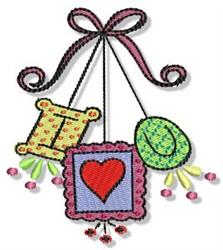 I Love You Ornaments embroidery design