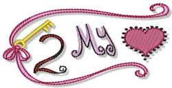 Key Two My Heart embroidery design