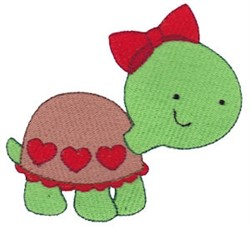 Valentines Day Turtle embroidery design