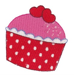 Red Valentines Day Cupcake embroidery design