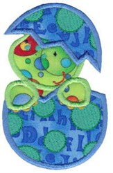 Hatching Dino Applique embroidery design