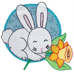 Easter Rabbit & Daffodil embroidery design