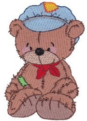 Raggedy Train Conductor Bear embroidery design