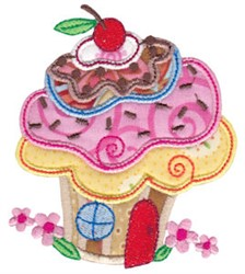 Applique Cupcake House embroidery design