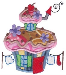 Applique Muffin House embroidery design