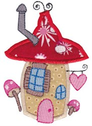 Applique Toadstool House embroidery design