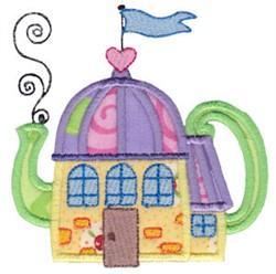 Applique Tea Pot House embroidery design