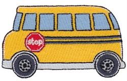Lets Go School Bus embroidery design