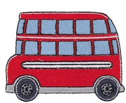 Lets Go Double Decker Bus embroidery design