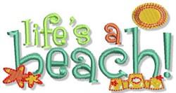 Lifes A Beach Nautical Sentiment embroidery design