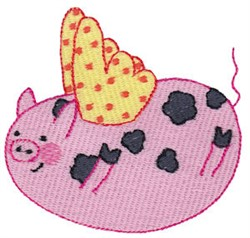 Falling Flying Pig embroidery design
