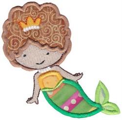 Brunette Magical Mermaid Applique embroidery design