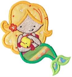Blonde Mermaid Applique embroidery design