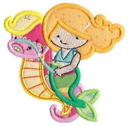 Mermaid & Seahorse Applique embroidery design