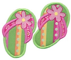 Green Flip Flops Applique embroidery design
