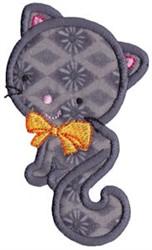 Halloween Black Cat Applique embroidery design