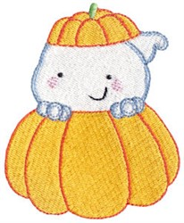 Happy Ghost & Pumpkin embroidery design