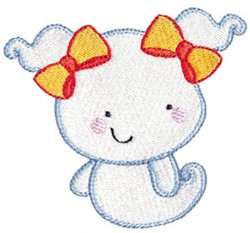 Halloween Ghost With Pigtails embroidery design