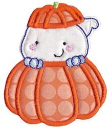 Applique Ghost & Pumpkin embroidery design