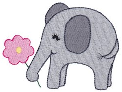 Little Elephant & Flower embroidery design
