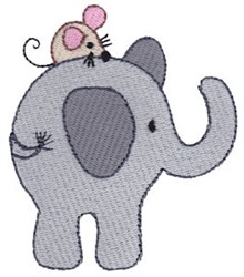 Little Elephant & Mouse embroidery design