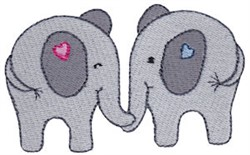 Little Elephant Couple embroidery design