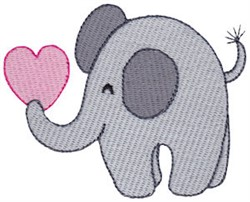 Little Valentines Day Elephant embroidery design