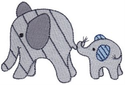 Little Elephant Family embroidery design