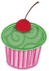Cherry Cupcake Applique embroidery design