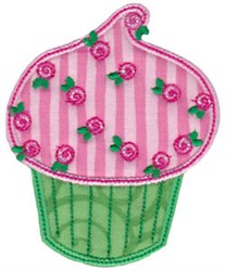 Floral Cupcake Applique embroidery design