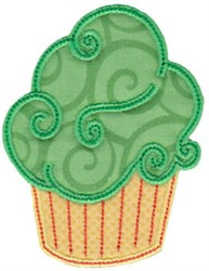 Green Cupcake Applique embroidery design