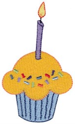 Tiny Birthday Cupcake embroidery design