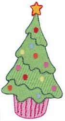 Christmas Tree Cupcake embroidery design