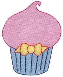 Delicate Cupcake & Bow embroidery design