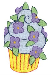 Tiny Floral Cupcake embroidery design