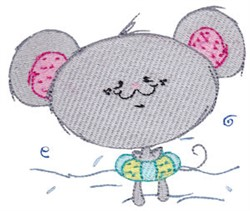 Cuddle Me Swimming Mouse embroidery design