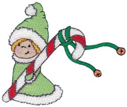 Christmas Girl & Candy Cane embroidery design