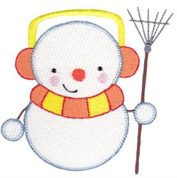 Snowman & Rake embroidery design