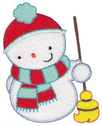 Snowman & Broom embroidery design