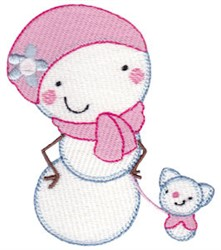 Snow Woman & Puppy embroidery design
