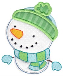 Bundled Up Snowman Applique embroidery design