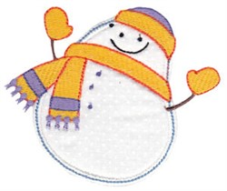 Pudgy Snowman Applique embroidery design
