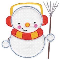 Snowman & Rake Applique embroidery design