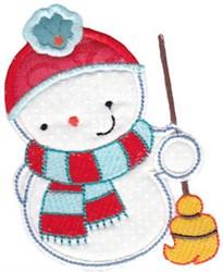 Snowman & Broom Applique embroidery design