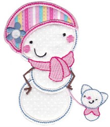 Snow Woman & Puppy Applique embroidery design