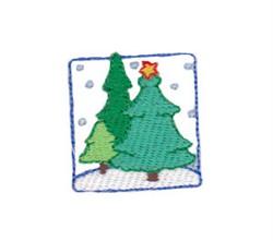 Christmas Square Mini Tree Scene embroidery design