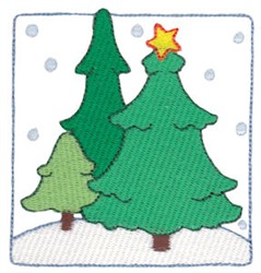 Christmas Melody Trees Scene embroidery design