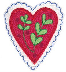 Christmas Melody Heart Applique embroidery design