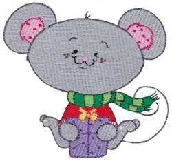 Winter Critter mouse embroidery design